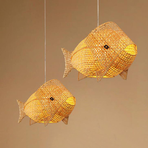 New Chinese LED Pendant Light Bamboo Cane Fish Lampshade Cute Vivid Dining Room Shops from Singapore best online lighting shop horizon lights