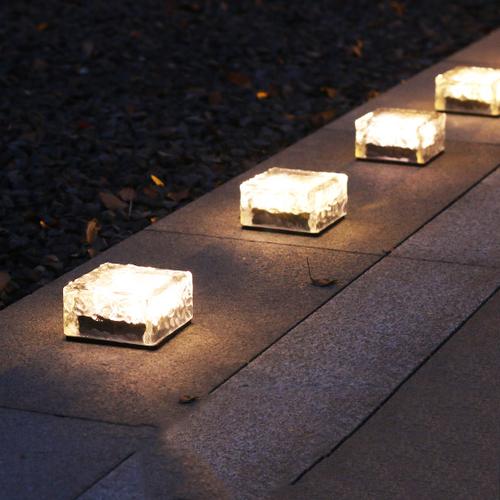 Waterproof LED Garden Lawn Light 4PCS Solar Energy Square Shape Glass from Singapore best online lighting shop horizon lights