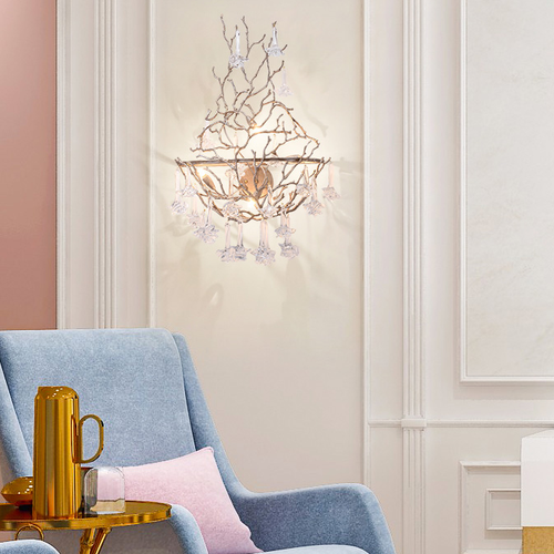 Post-modern LED Wall Lamp Crystal Copper Rose Vines Charming Living Room Bedroom from Singapore best online lighting shop horizon lights