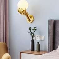 Post-modern LED Wall Lamp Glass Ball Shade Copper Hand Unique Corridor Living Room from Singapore best online lighting shop horizon lights