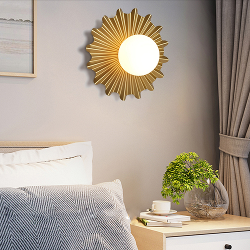 Modern LED Wall Lamp Glass Ball Shade Metal Sun Shape Bedroom Living Room from Singapore best online lighting shop horizon lights
