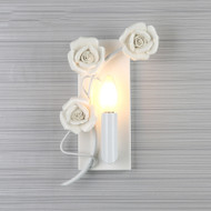 Modern Style LED Wall Lamp Glass Metal White Rose Shade Bedroom Corride from Singapore best online lighting shop horizon lights