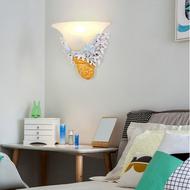 Mediterranean Style LED Wall Lamp Resin Shell  Glass Shade Bedroom Corride from Singapore best online lighting shop horizon lights