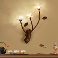 New Chinese Style LED Wall Lamp PU Artificial Leather Plum Blossom Fower Home Decor from Singapore best online lighting shop horizon lights