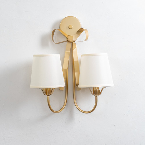 Modern LED Wall Lamp Cloth Shade Metal Bowknot Decoration Corrider Bedroom from Singapore best online lighting shop horizon lights