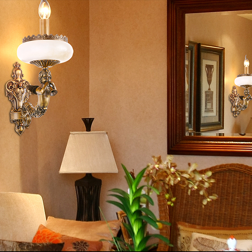 French Style LED Wall Lamp Luxury Marble Copper Sculpture Angel Corridor from Singapore best online lighting shop Horizon Lights