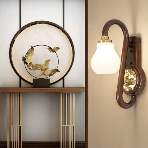 New Chinese Style LED Wall Lamp Luxury Wooden Copper Decorate Corridor