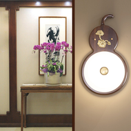 New Chinese Style LED Wall Lamp Wooden Base Gourd Shape Corridor