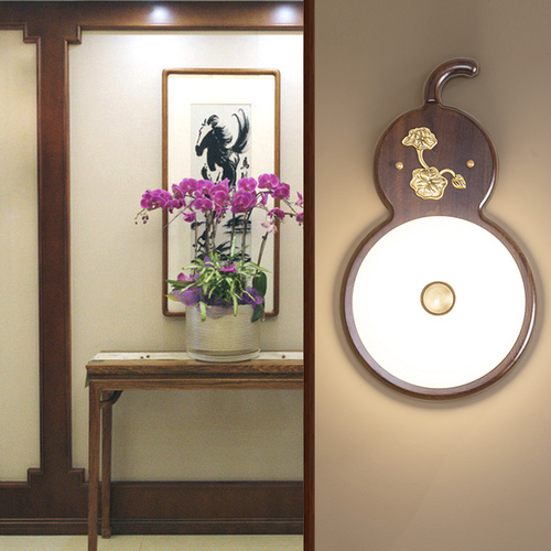 FuLuShou Gourd, Chinese LED Wall Lamp for Feng Shui and Asian (front)