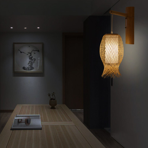 New Chinese Style LED Wall Lamp Bamboo Handmade Hotel Corridor