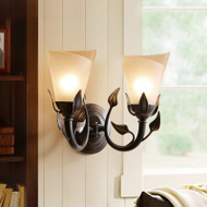 American Style LED Wall Lamp Glass Lampshade Copper Leaf Decorate Dining Room