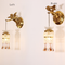 French Style LED Wall Lamp Copper Angel Crystal Decorate Luxury Living Room