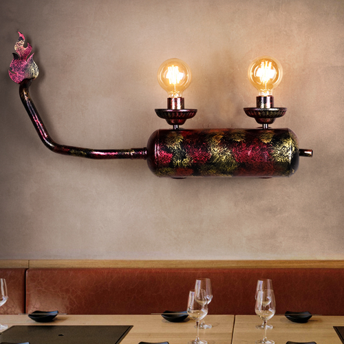 Industrial Style LED Wall Lamp Metal Motorbike Exhaust Pipe Dining Room