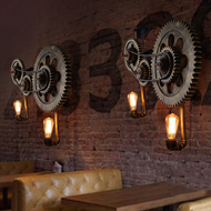 Industrial Style LED Wall Lamp Metal Mechanical Gear Creative Dining Hall