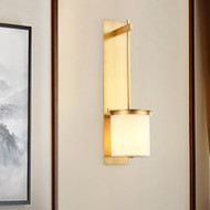 New Chinese Style LED Wall Lamp Copper Cloth Lampshade Bedroom Living Room