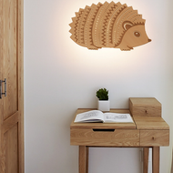 Modern LED Wall Lamp Wooden Incision Hedgehog Creative Kids Bedroom