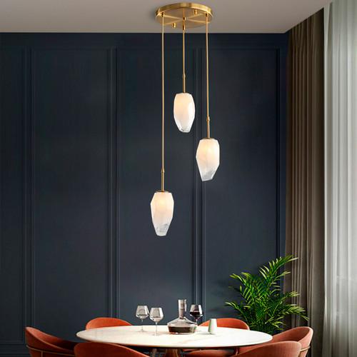 Nordic Style LED Pendant Light Glass Irregular Shape Stylish Dining Room