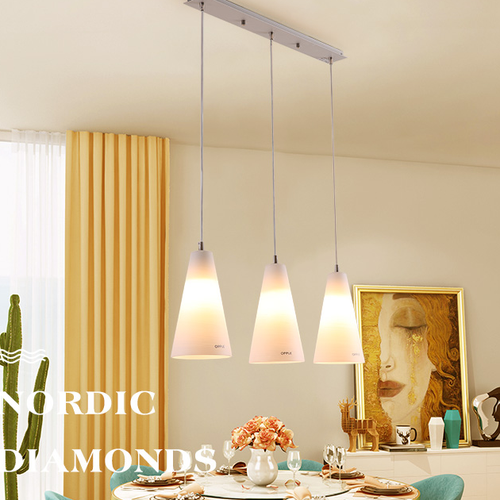 Modern LED Pendant Light Glass Lampshade Conical Shape Simple Dining Room