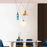 Nordic Style LED Pendant Light Glass Metal Combination Creative Living Room