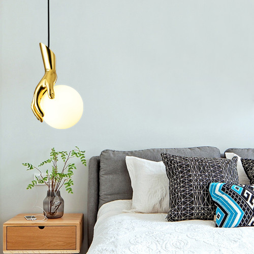 Nordic Style LED Pendant Light Glass Ball Shaped Copper Hand Creative Bedroom