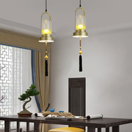 New Chinese Style LED Pendant Light Glass Lampshade Resin Lotus Dining Room