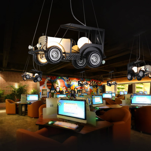 Industrial Style LED Pendant Light Plastic Car Shape Creative Bar Cafe