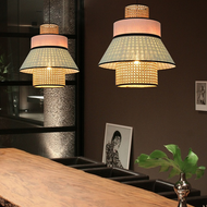 Modern LED Pendant Light Handmade Rattan Colors Combination Dining Room from Singapore best online lighting shop horizon lights