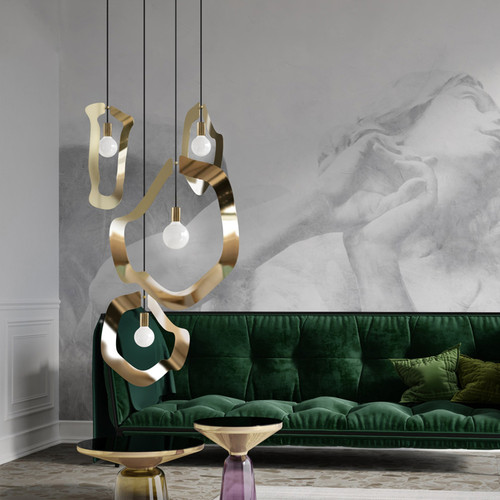 Post Modern LED Pendant Light Metal Irregular Frame Creative Dining Room from Singapore best online lighting shop horizon lights