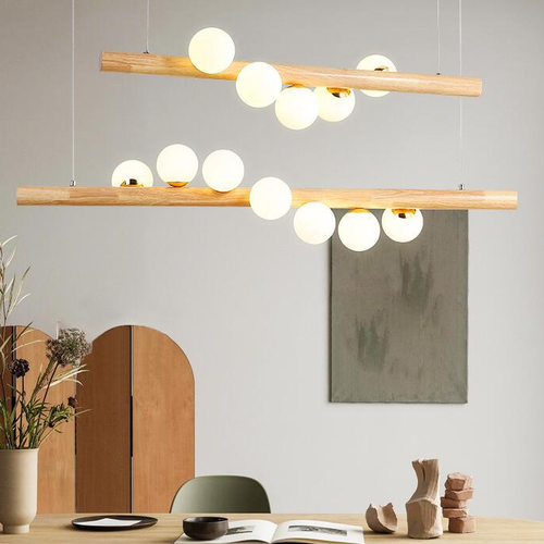 Nordic Style LED Pendant Light Wooden Frame Glass Magic Beans Dining Room from Singapore best online lighting shop horizon lights