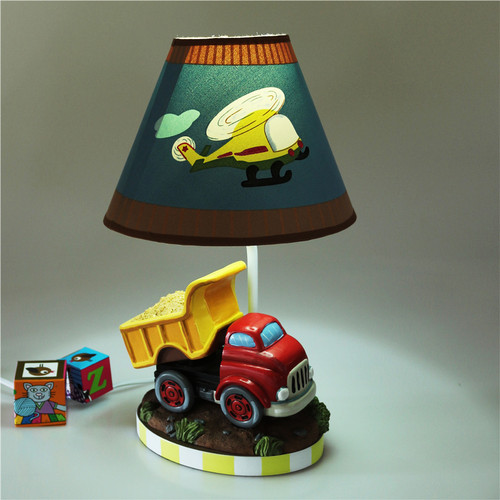 Modern LED Table Lamp Resin Car Shape Cloth Lampshade Children Bedroom from Singapore best online lighting shop horizon lights