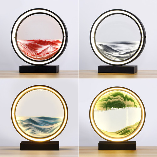 Modern LED Table Lamp Round Acrylic 3D Sand Painting Creative Living Room from Singapore best online lighting shop horizon lights