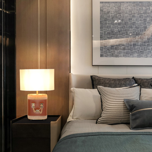 Modern LED Table Lamp Luxury Leather Base Cloth Lampshade Bedroom