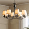 American Retro Style LED Chandelier Fabric Lampshade Metal Stand Bedroom Dining Room Living Room