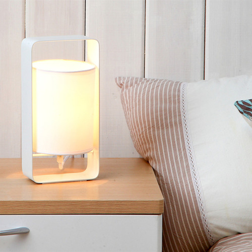 Scandinavian Style LED Table Lamp Cloth Lampshade Metal Bedroom Study Room