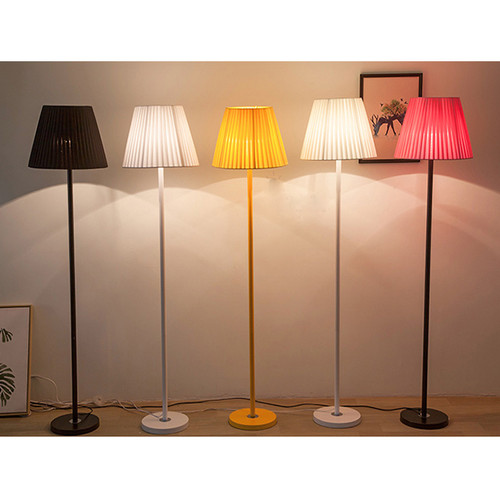 Yellow Light Scene of Nordic Modern Style LED Floor Lamp Fabric Lampshade Solid Color Lamp Body Cloth and Metal Living Room