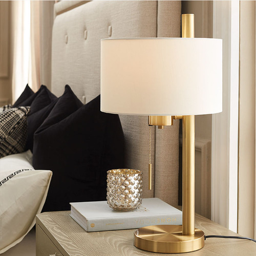 Bedside Scene of Modern LED Table Lamp Fabric Lampshade Pull Switch Cloth and Metal Bedroom from Singapore best lighting shop Horizon lights