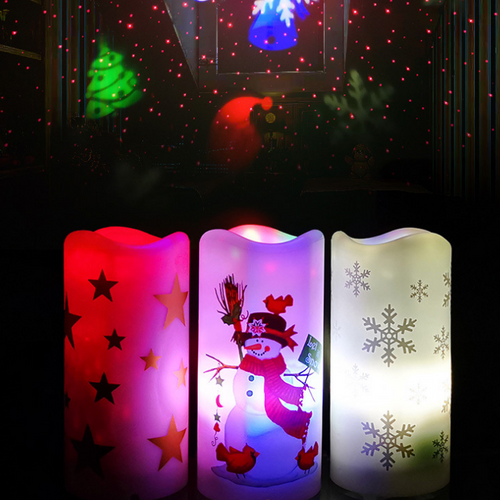 Christmas Yankees Candles LED Projector Light from Secret Santa (3 candle)