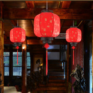 Chinese Retro Style LED Pendant Light Lantern Metal PVC Shade Corridor Restaurant Balcony