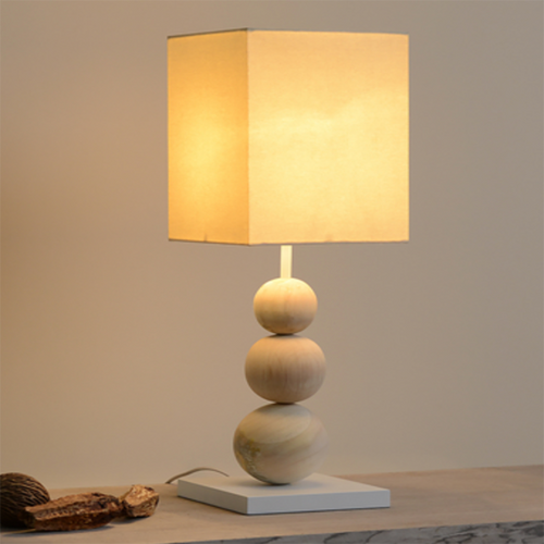 Modern LED Table Lamp Warm Creative Cloth Lampshade Wood Base Bedroom Study