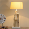 Modern Table Lamp Wooden Base Cloth Lampshade Bedroom Study