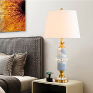 American LED Table Lamp Fabric Lampshade Ceramic Bedroom Bedside