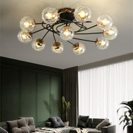 Nordic Style Ceiling Light Metal Glass Shade Bedroom Dining Room Living Room Eleven headlights