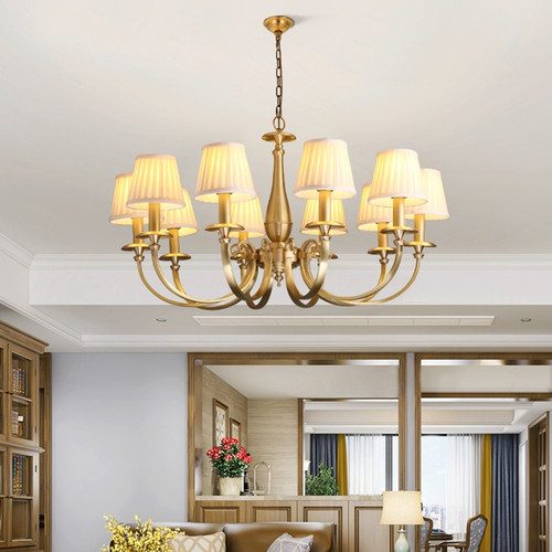 American LED Pendant Light Copper Cloth Lampshade Dining Room Living Room Decorate from Singapore best online lighting shop Horizon Lights Use of lights in the living room