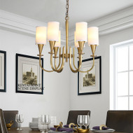 Copper Cloth Lampshade LED Pendant Light American Living Room Bedroom
