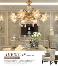 LED Light Chandelier American Crystal Copper body