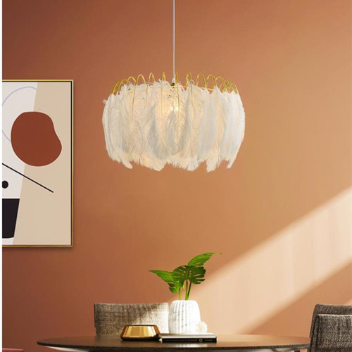 Nordic LED Pendant Light Warm Creative Iron Feather Children's Room Living Room Dining Room