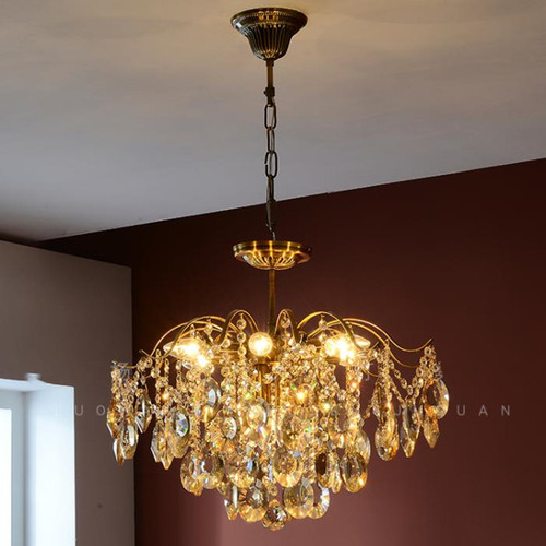 Postmodern LED Pendant Light Retro Luxury Crystal Cloakrooms Dining Room Living Room Bedroom