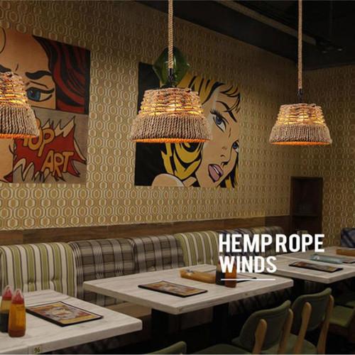 American Retro LED Pendant Light Hemp Rope Restaurant Coffee Shops from Singapore best online lighting shop Horizon Lights