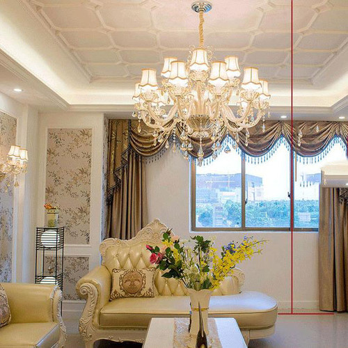 European LED Chandelier Lights Luxurious K9 Crystal Decorate Cloth Lampshade Living room from Singapore best lighting shop Horizon Lights