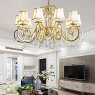 American LED Chandelier Lights Cloth Lampshade Crystal Decorate Living Room